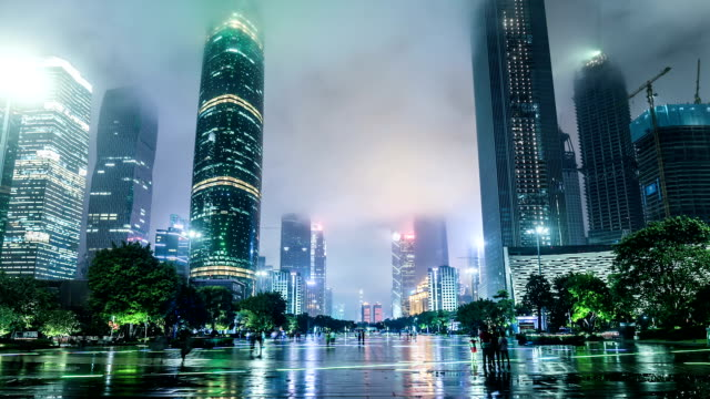 T/L WS LA ZO Guangzhou CBD and Huacheng Square at Night / Guangzhou, China