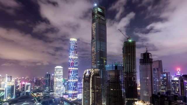 t/l ws guangzhou cbd overlook at night / guangzhou, china - china east asia stock videos & royalty-free footage
