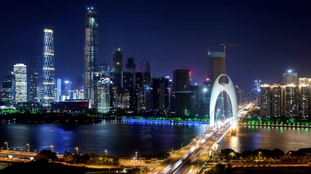 t/l ws td guangzhou cbd overlook at night / guangzhou, china - 遊覧船点の映像素材/bロール