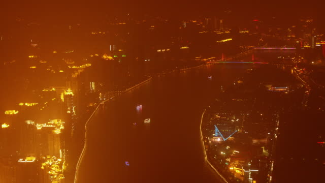 t/l ws guangzhou, china at night from above. - spoonfilm stock-videos und b-roll-filmmaterial