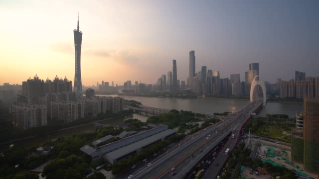 ws ha guangzhou cityscape at sunset / guangzhou, china - guangzhou stock videos & royalty-free footage