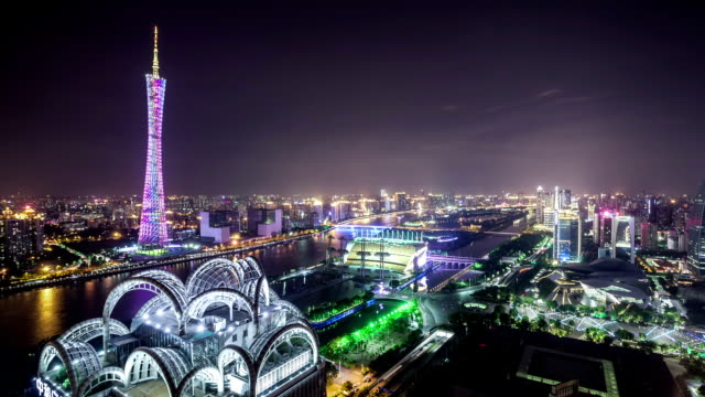 t/l ws td guangzhou overlook at night / guangzhou, china - guangzhou stock videos & royalty-free footage