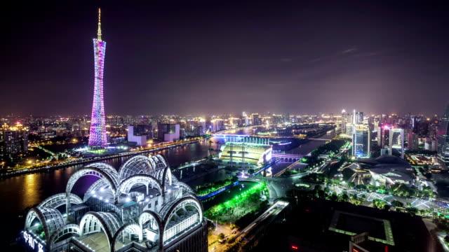 t/l ws guangzhou overlook at night / guangzhou, china - guangzhou stock videos & royalty-free footage