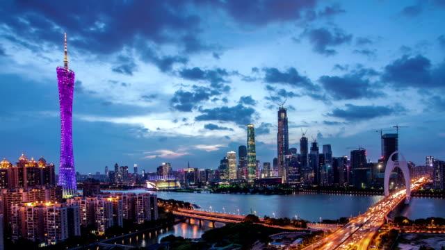 T/L WS PAN Guangzhou Overlook at Night / Guangzhou, China.