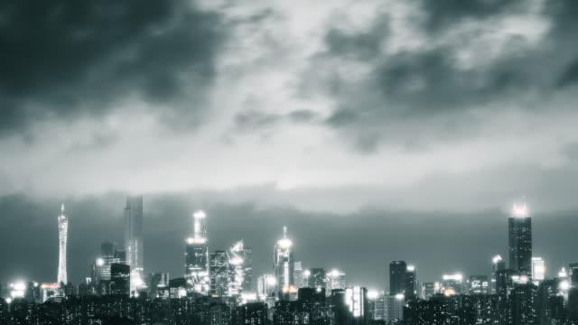t/l ls guangzhou overlook night in china - 尖り屋根点の映像素材/bロール