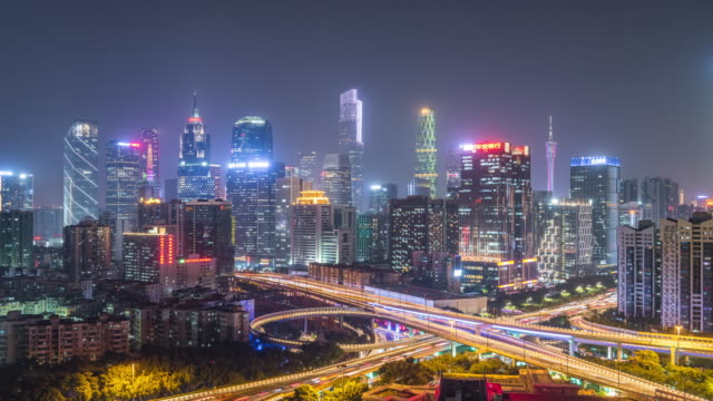 t/l guangzhou skyline and overpass at night, china - guangzhou stock videos & royalty-free footage