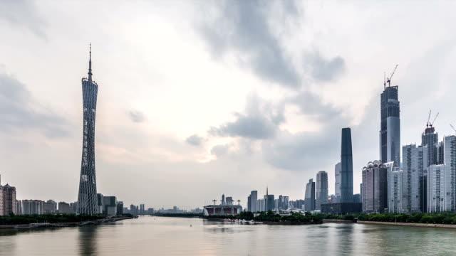 t/l ws guangzhou skyline at dusk / guangzhou, china - guangzhou stock videos & royalty-free footage