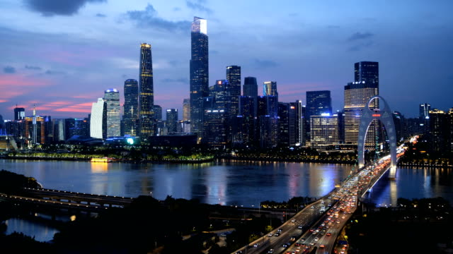 guangzhou skyline at dusk - guangzhou stock videos & royalty-free footage