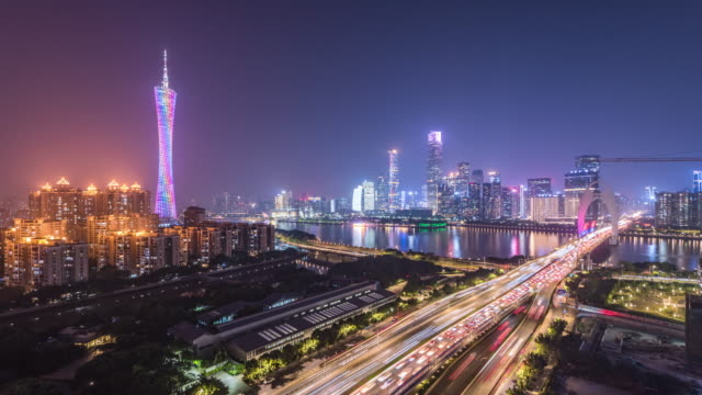 t/l guangzhou skyline at night, guangdong province, china - economy stock videos & royalty-free footage