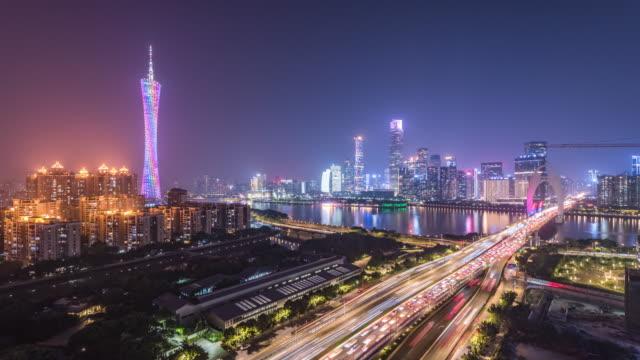 t/l guangzhou skyline på natten, guangdongprovinsen, kina - ekonomi bildbanksvideor och videomaterial från bakom kulisserna