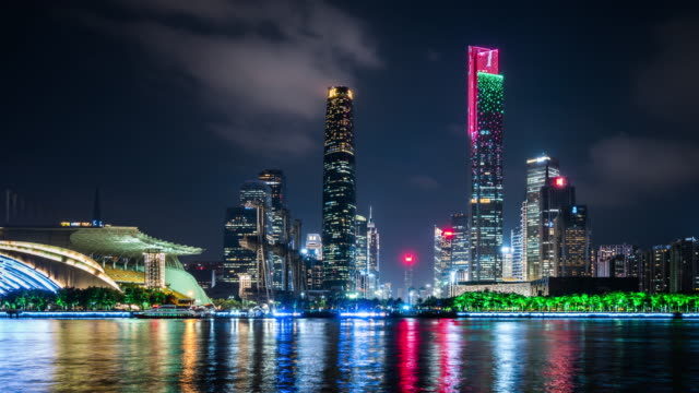 t/l ws pan guangzhou skyline at night / guangzhou, china - guangzhou stock videos & royalty-free footage