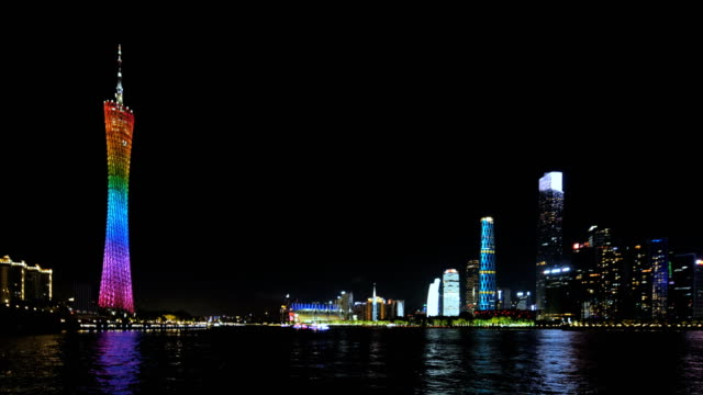 guangzhou skyline at night - guangzhou stock videos & royalty-free footage