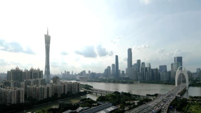 guangzhou skyline at sunset - guangzhou stock videos & royalty-free footage