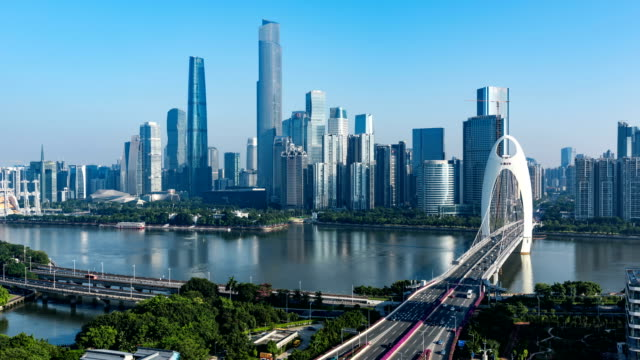 guangzhou skyline.timelapse/4k - traffic time lapse stock videos & royalty-free footage