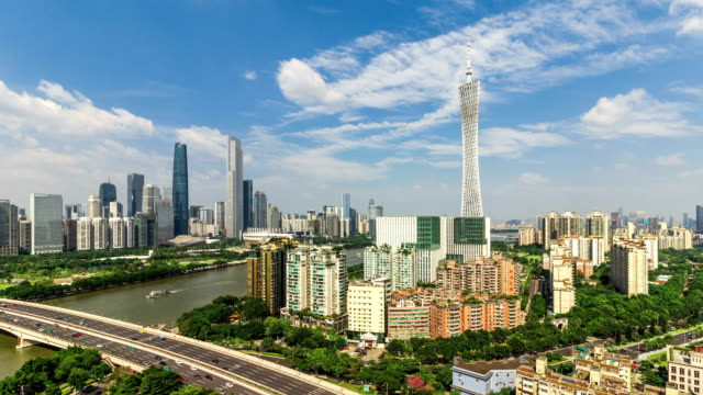 guangzhou skyline.timelapse/4k/guangzhou,china. - guangzhou stock videos & royalty-free footage