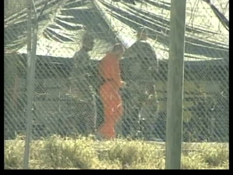 britons to return home itn cuba guantanamo bay camp xray lbv detainee led along in chains pan lms detainee in cage laying out towel as prayer mat lms... - camp x ray stock videos & royalty-free footage
