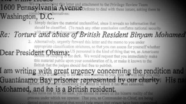 vidéos et rushes de guantanamo bay prisoner possible return to britain; letter from binyam mohamed to us president barack obama with sections on alleged torture blacked... - blacked