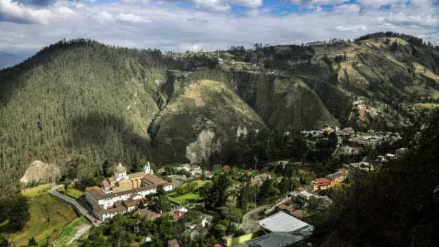 guapulo valley with church in quito ecuador timelapse