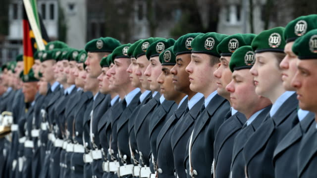 guard battalion, part of the honorary formation . german defense minister ursula von der leyen meets with danish defense minister claus hjort... - denmark stock videos & royalty-free footage