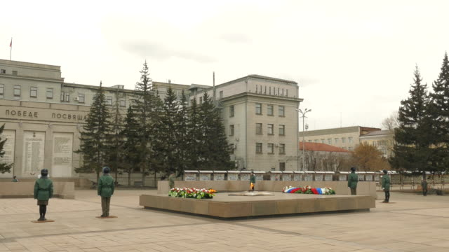 Russia. Irkutsk - 2016: Guard of honor at the Eternal flame, World War II Monument