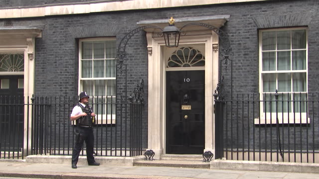 guard outside 10 downing street in london, england on july 11, 2018. - music or celebrities or fashion or film industry or film premiere or youth culture or novelty item or vacations stock videos & royalty-free footage