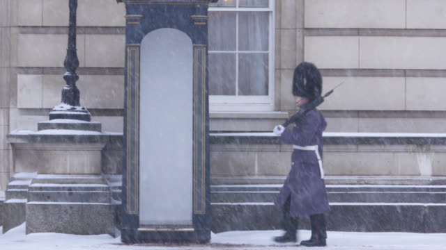 guard patrolling at buckingham palace in the snow - royalty stock videos & royalty-free footage