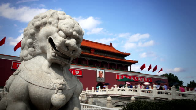 guardian lion statue, tiananmen, beijing - imperial lion stock videos and b-roll footage