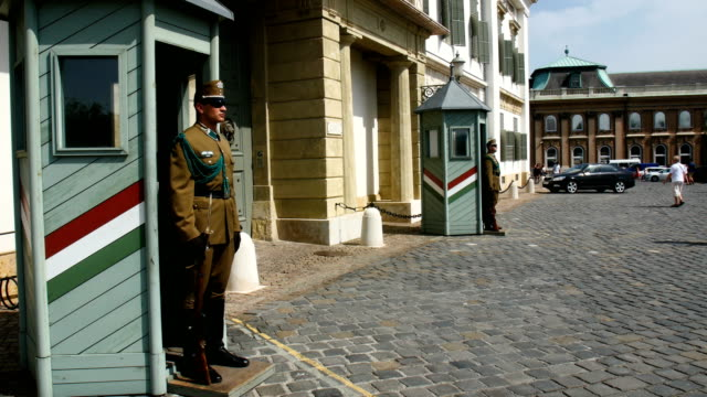 guards at  buda castle ,budapest, hungary - royal palace of buda stock videos & royalty-free footage