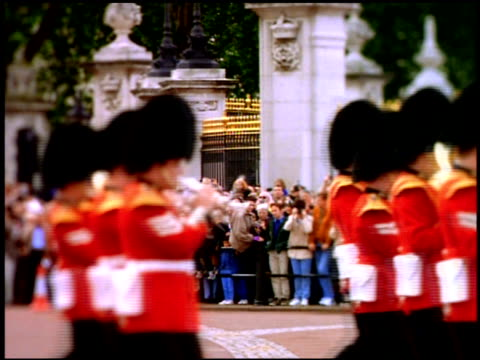 Guards in marching band during Trooping the Colour, with stylised focus effect, London