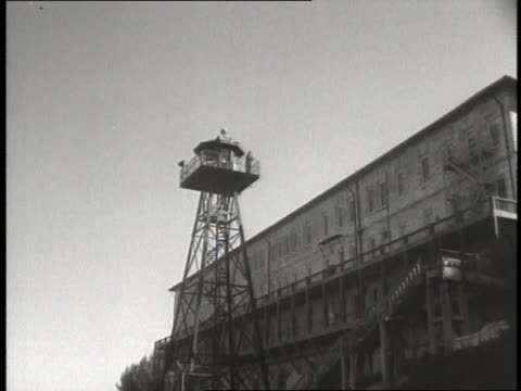 Guards in towers keep watch over Alcatraz