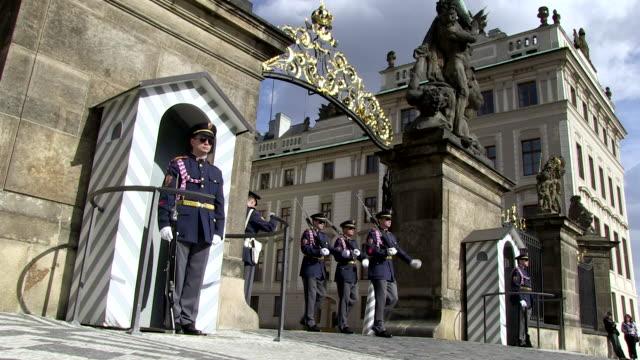 MS Guards marching from in prague castle entrance / Prague, Hlavni mesto Praha, Czech Republic