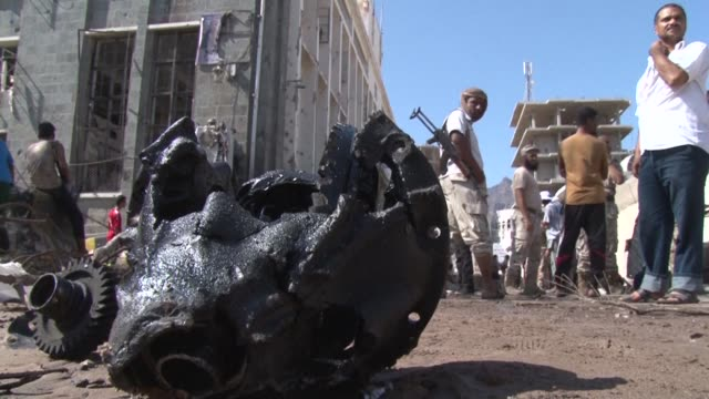 stockvideo's en b-roll-footage met guards thwarted a suicide attack on the yemeni central bank on saturday opening fire on the bomber's vehicle and blowing it up before it reached the... - clean