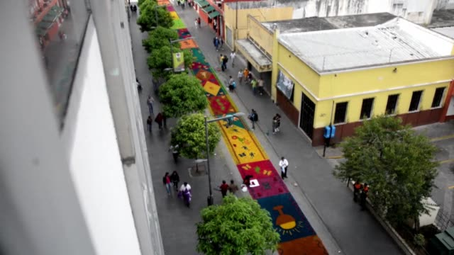 guatemalan catholics had more reasons to celebrate this holy thursday they earned another guinness record for manufacturing a 20125 meter long carpet... - record breaking stock videos & royalty-free footage