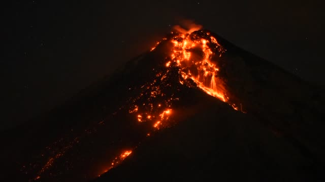 guatemala's volcan de fuego spews fountains of fire and ash - guatemala stock videos & royalty-free footage