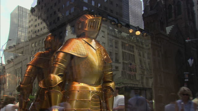 cu, td, gucci store window display reflecting pedestrians passing by, fifth avenue, new york city, new york, usa - intellectual property stock videos & royalty-free footage