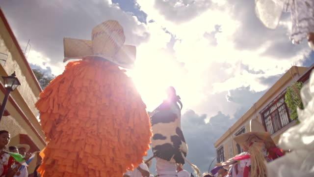guelaguetza celebration in oaxaca - bull animal stock videos & royalty-free footage