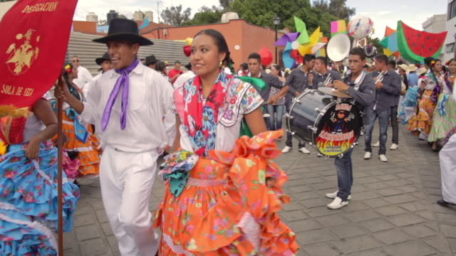 guelaguetza celebration in oaxaca - north american tribal culture stock videos & royalty-free footage