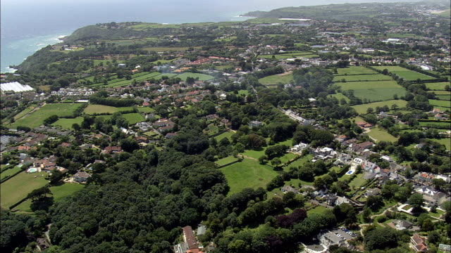 guernsey landscape - aerial view - helicopter filming,  aerial video,  cineflex,  establishing shot,  guernsey - channel islands england stock videos & royalty-free footage