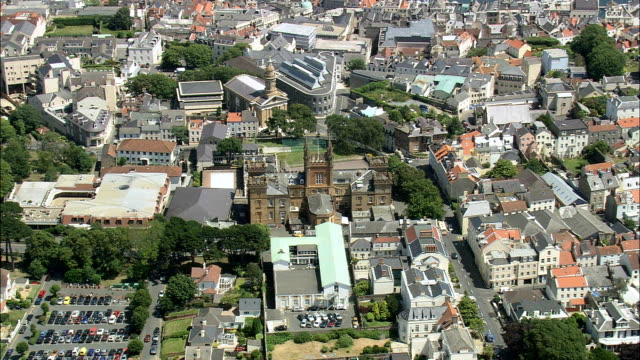 guernsey,  st peter's port - aerial view - helicopter filming,  aerial video,  cineflex,  establishing shot - guernsey stock videos and b-roll footage