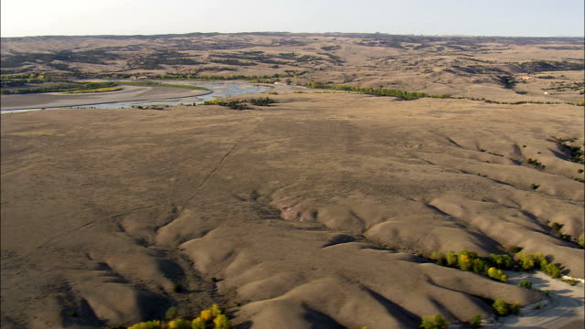 guernsey state park  - aerial view - wyoming, platte county, united states - guernsey stock videos & royalty-free footage