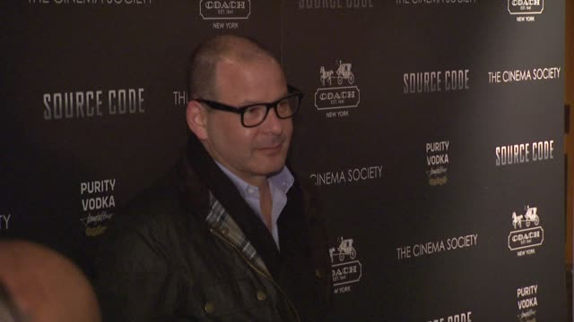 vidéos et rushes de guest at the the cinema society & coach host a screening of 'source code' - arrivals at new york ny. - projection de films
