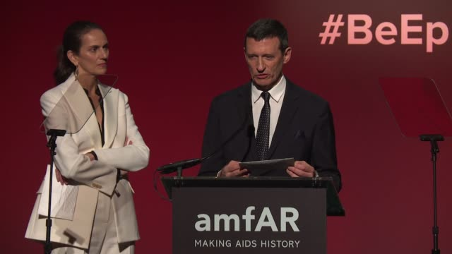 SPEECH Guest introduces Stefano Tonchi at 20th Annual amfAR Gala New York at Cipriani Wall Street on February 07 2018 in New York City
