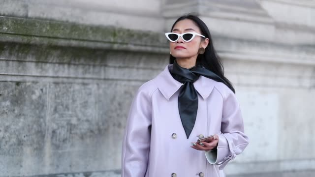 a guest is seen wearing pink coat outside iris van herpen during paris fashion week haute couture spring summer 2019 on january 21 2019 in paris... - spring summer collection stock videos & royalty-free footage