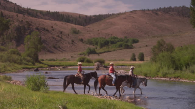 guest ranch visitors ford the north platte river on horseback. - wyoming ranch stock videos & royalty-free footage
