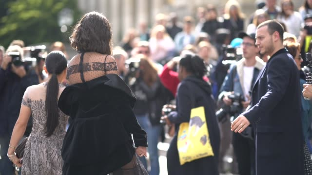 guest wears a black mesh lace dress, outside elie saab, during paris fashion week womenswear spring/summer 2018, on september 30, 2017 in paris,... - mesh textile stock videos & royalty-free footage