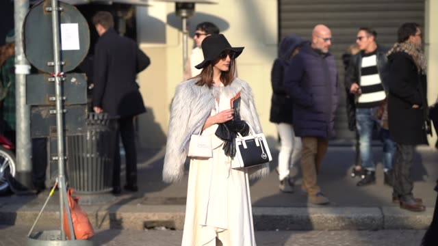 A guest wears a hat during Milan Menswear Fashion week Fall/Winter 2018/19 on January 14 2018 in Milan Italy