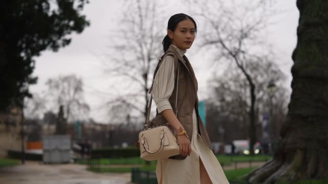 guest wears a scarf, a striped white top, a sleeveless brown jacket, a chloe bag, a skirt, brown shoes, outside chloe, during paris fashion week -... - brown stock videos & royalty-free footage