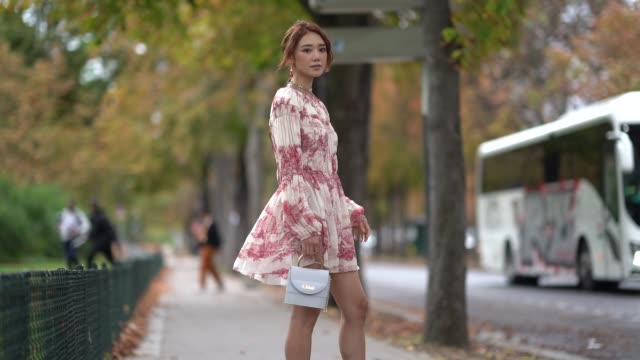 guest wears earrings, a necklace, a long sleeves white and red toile de jouy pleated and gathered mini dress, a white lizard pattern chloe bag, dark... - fashion week stock videos & royalty-free footage