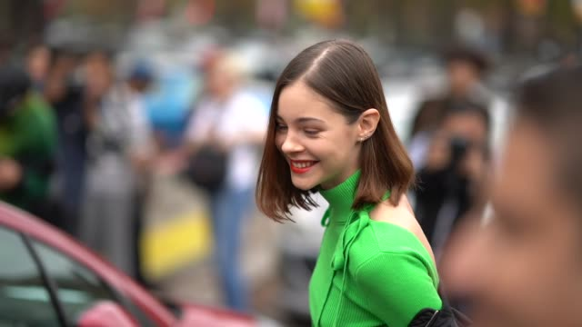 a guest wears green boots a black bomber jacket a blue denim skirt a green top outside lanvin during paris fashion week womenswear spring/summer 2018... - skirt stock videos & royalty-free footage