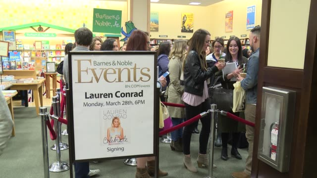 atmosphere guests and signage at lauren conrad signs copies of her new book lauren conrad celebrate at barnes noble tribeca on march 28 2016 in new... - barnes & noble stock videos & royalty-free footage
